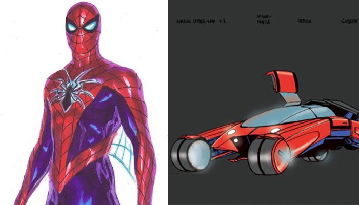 spiderman traje y spider-mobile