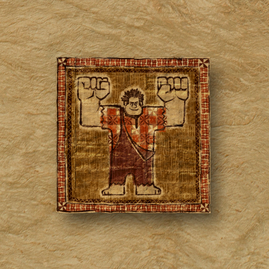 "MOANA - 8-BIT TAPA – Wreck-It Ralph himself makes an appearance on a tapa cloth in ""Moana."" The character wrecks the Internet in the sequel to the 2012 film, which is slated for release on March 9, 2018. ©2016 Disney. All Rights Reserved."